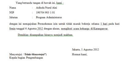 Contoh Surat Permohonan Ijin