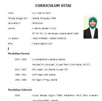 form curriculum vitae narasumber