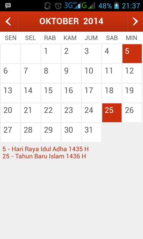 Kalender Indonesia, Kalender Dengan Hari Libur Nasional dan Cuti Bersama